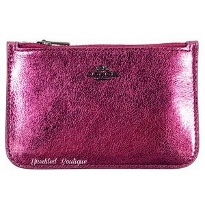 COACH Metallic Berry Leather Card Holder Wallet